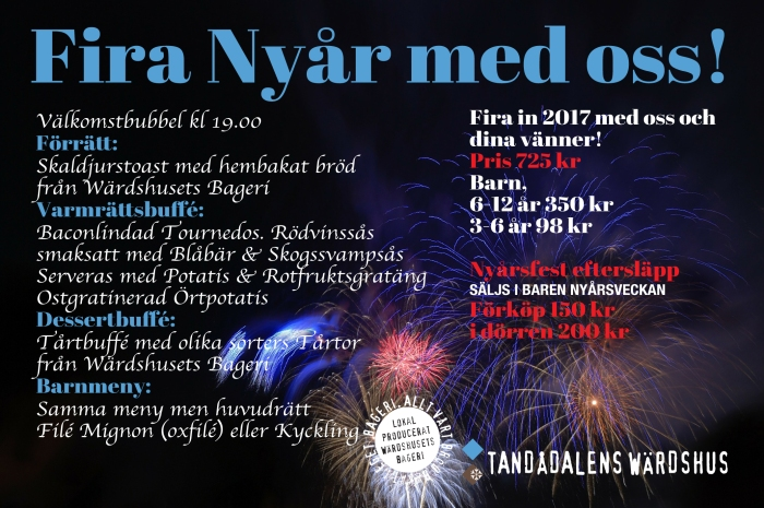 nyårsfest tandådalen, nyårssupé, nöje tandådalen, Tandådalen 2017, Tandådalens Wärdshus, PartyPatrullen, boka bord, new year